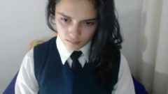 HORNY LATINA PLAYING WITH PUSSY IN SCHOOL UNIFORM