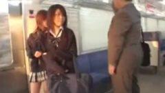 Japanese Schoolgirls Abuse Old Juicy Man In Subway