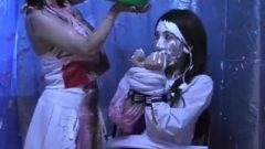 Sticky Schoolgirls Slimed