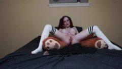 Lonely Ginger School-Girl Bang's Teddy Bear