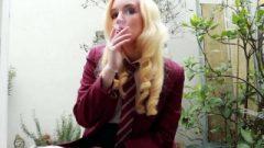 Golden-haired British School Girl Smoking Joi