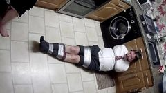 Guy Duct Taped In College Uniform With Polishing – Version 1