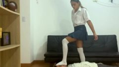 College Female Trampling Face With Socks And Facestanding