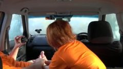 Fake Driving College Swotty Ginger Scholar Has Cunt Filled With Jizz